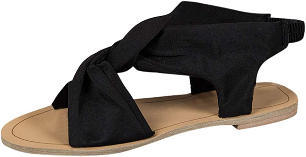 Open Toe Shoes Ladies Women/'s Flat Casual Peep Toe