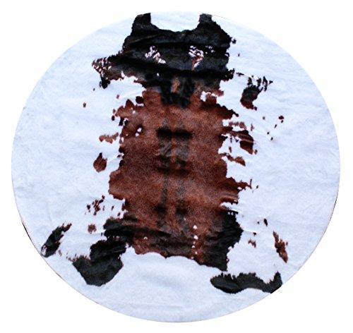 Masada Rugs, Faux Fur Cowhide Area Rug Brown White (4 Feet 8 Inch X 4 Feet 8 Inch) Round