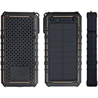 15000mAh Solar Charger, StarVast Portable Outdoors Dual USB Solar Panel Power Bank, External Battery Pack Phone Charger with 2 LED Flashlights for iPhone Samsung HTC Cellphones and More Smart phone