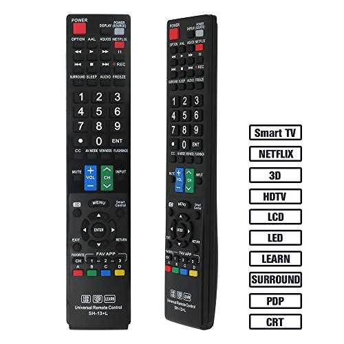 Gvirtue Universal Remote Control GSH-13 Compatible Replacement for Sharp Smart TV/ HDTV/ 3D/ LCD/ LED, Applicable GA935WJSA GA806WJSA GA840WJSA GA480WJSB GB004WJSA GB118WJSA GB004WJSA GB005WJSA (Sharp Remote Control Lcdtv)