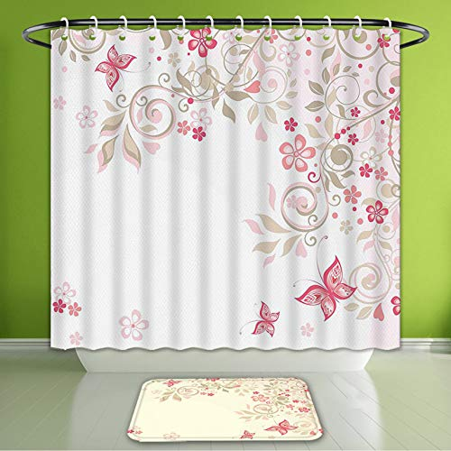 Waterproof Shower Curtain and Bath Rug Set Floral Curly Branches Wildflowers Butterflies Dots Romantic Bridal Wedding Theme Pink Cocoa Lig Bath Curtain and Doormat Suit for Bathroom 60
