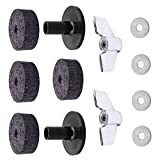 D DOLITY Soft 4Pcs Drum Cymbal Felts Washers + 2Pcs Cymbal Sleeve Wing Nuts Parts