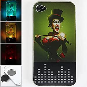 conseguir Nuevo sentido syren patrón 3d luz de destello llevó la caja dura el cambio de color para el iphone 4/4s , Negro