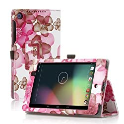 TNP Google Nexus 7 FHD 2nd Gen Case (Flower Purple) - Slim Fit Synthetic Leather Folio Case Stand with Smart Cover Auto Sleep Wake Feature and Stylus Holder for Google Nexus 2 7.0 Inch 2013 Tablet