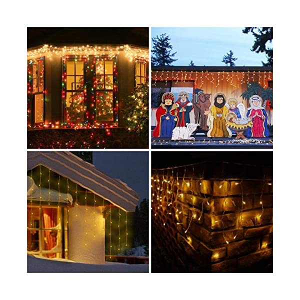 Luci Natale Esterno Cascata, BrizLabs 8.8M 360 LED Tenda Luminosa Catena Luminosa Interno Luci Stringa Decorazione Natalizie 8 Modalità con Telecomando per Casa Feste Giardino Finestra, Bianco Caldo 6 spesavip