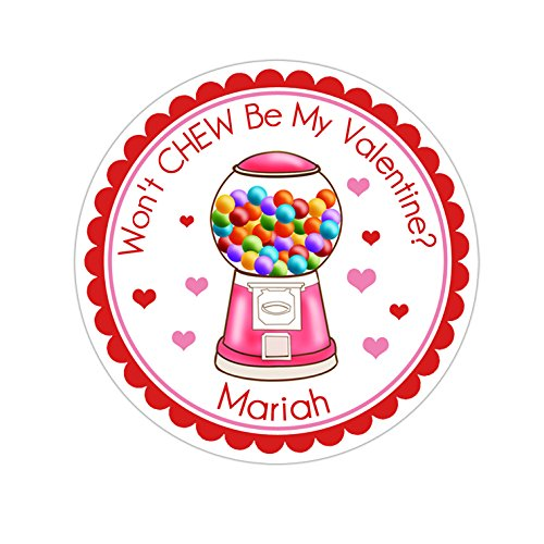 (Personalized Customized Valentine's Day Gift Stickers - Pink Gumball Machine - Round Labels - Choose Your Size)