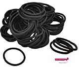 Kenz Laurenz 100 Hair Elastics Hair Ties No Crease Ouchless Ponytail Holders No Metal 4mm (100 Black)