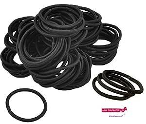 Kenz Laurenz 100 Hair Elastics Hair Ties No Crease Ouchless Ponytail Holders No Metal 4mm (100 Hair Elastics-Black)