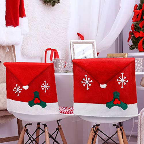 Tatuo 4 Pieces Christmas Chair Covers Decor, Santa Claus Red Hat Snowflake Chair Xmas Cap, Kitchen Dining Chair Slipcovers Sets for Christmas Holiday Festive Decorations (White Snowflake)