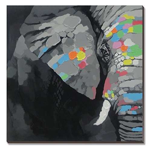 3Hdeko-Elephant Oil Painting cubism 100% Hand-painted on Canvas Artwork(Stretched / Ready to Hang)30x30inch Modern Animal Wall Art for or Living Room Bedroom - Painted Elephant