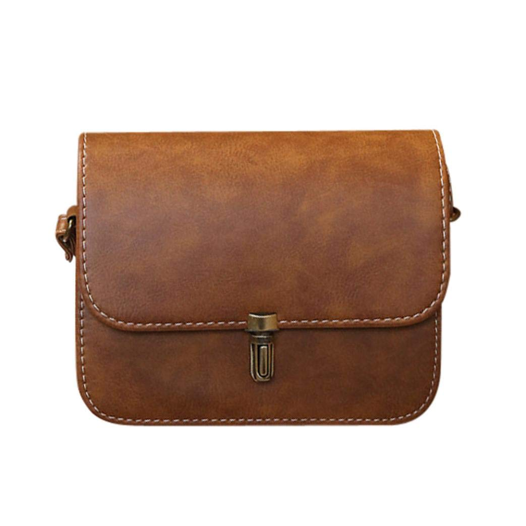 Yihaojia Leather Satchel Handbag Shoulder Tote Messenger Crossbody Bag for Women Lady (Brown)