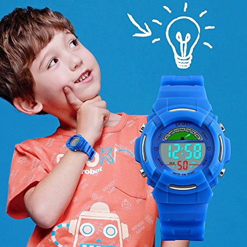 Boys-Digital-Watches-for-Kids-with-Reminder-Alarms-Stainless-Steel-Back-and-Buckle-Blue-50M-Waterproof