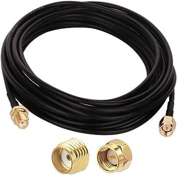 GTIWUNG Cable de Extensión de Antena SMA, 5m SMA Macho a SMA Hembra Cable Coaxial, Cable Alargador de Antena, WiFi FPV Cable de Antena de RP-SMA, ...