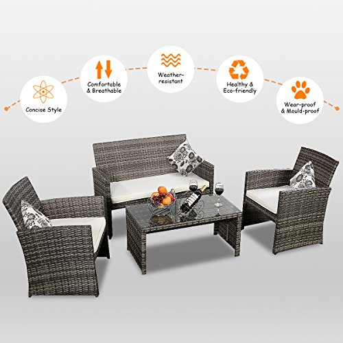 Goplus 4 PC Patio Furniture Lawn Sofa Conversation with Weather Resistant and