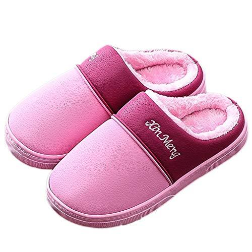 38EU Farbe Boden mit PU Winter Pink Paar Pantoffeln größe Innenwasserdichte Starke Light Rutschfesten Untere Weichen Frauen Baumwollpantoffel Halbe Tasche 37 AMINSHAP pink Dark qCCZwAR