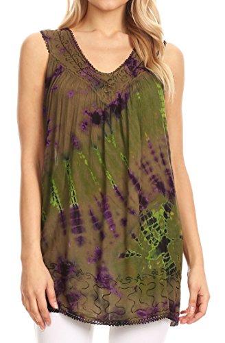 Sakkas 17501 - Sana Tie Dye Sleeveless Embroidered V-Neck Tank Tunic Top Blouse/Cover Up - Olive - (Crinkle Cotton Sleeveless Top)