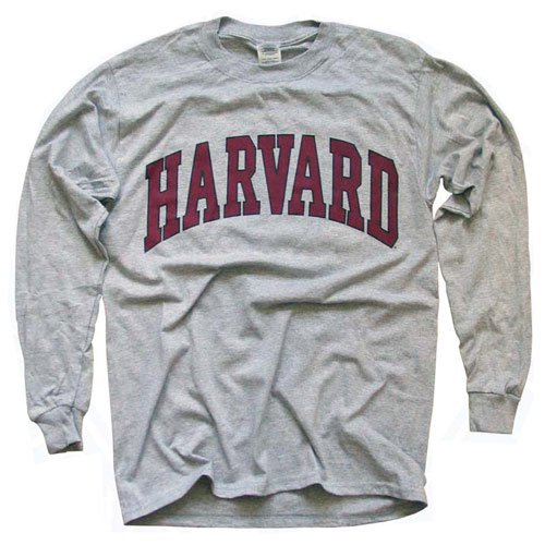 Harvard University T-Shirt, Officially Licensed Long-Sleeve College Athletic Tee, Gray M