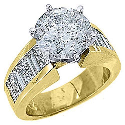 18k Yellow Gold 6.05 Carats Round Princess & Baguette Cut Diamond Engagement Ring ()
