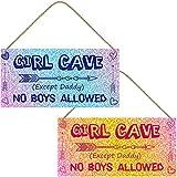 Jetec 2 Pieces Little Girl Cave Sign PVC Waterproof