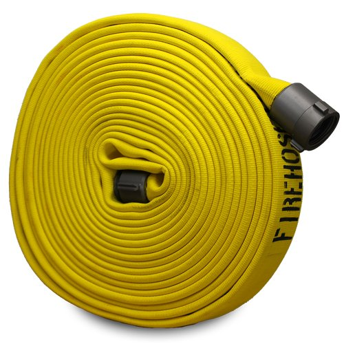 Yellow 1 1/2'' x 50' Forestry Hose with Aluminum NH Couplings by FireHoseDirect
