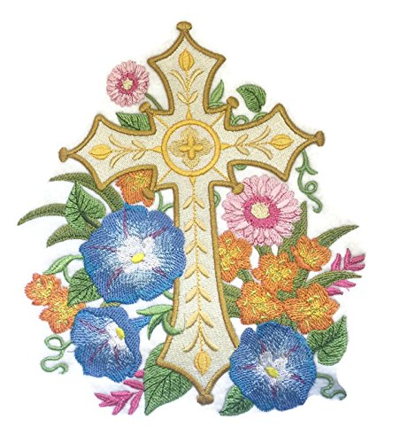 [Custom] Holy Sacred Cross with Nature's Bounty [Gilded Garden Cross] Embroidery Iron On/Sew patch [7.8
