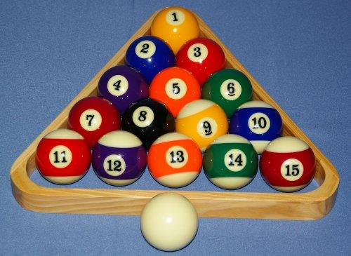 nanook Sport 16er Satz Billardkugeln mit Dreieck Triangel aus Holz, lackiert - 57,2 mm