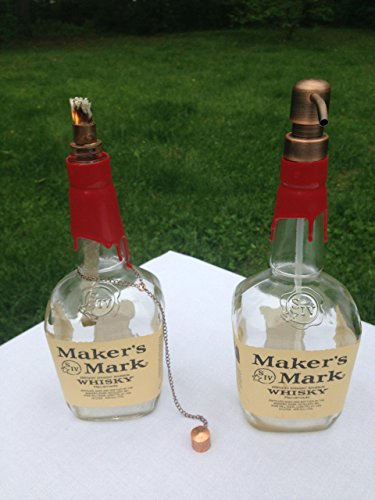 Tiki Torch - Makers Mark Bourbon Whiskey Bottle - Oil Lamp and Soap Pump - Bar and Grill Set - Outdoor Lighting - Garden Decor - Bourbon Decor