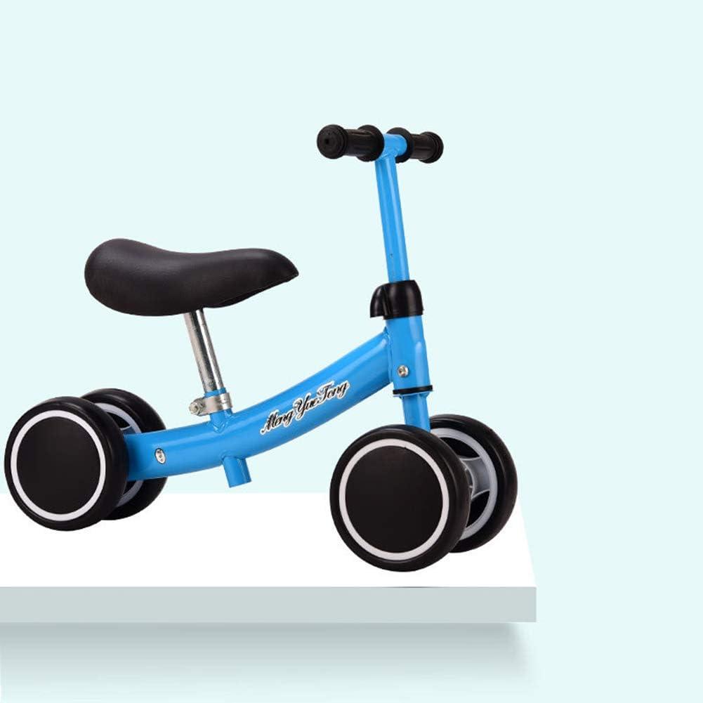 DFSSD Infantil Correr Bicicleta de Entrenamiento, Niño de Bicicletas, n-Pedal, Altura Ajustable, Triangular Estructura Estable, Dirección límite, 12-36 Meses Juguetes,Azul