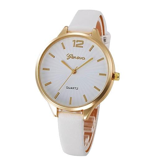 Kinlene Reloje Hombres Mujeres Relojes casuales damas de imitacion de cuero de cuarzo analogico reloj (Blanco): Amazon.es: Relojes