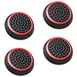 Fosmon Silicone Thumb Stick Analog Controller Grip Caps (4 Pack/2 Pairs) for Xbox One, Xbox One X, Xbox 360, PS4, PS3, Wii U/Wii Nunchuk (Black/Red)