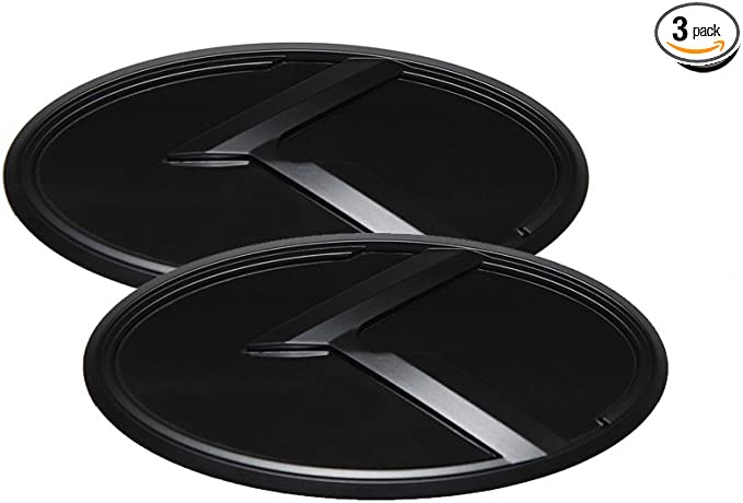 Rear Fits: KIA 2020+ Telluride Steering Wheel 3D Tauro Black Emblem Set 3pc Front