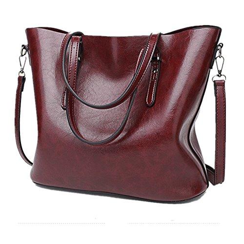 Jlcorp, borsa a secchiello, con tracolla e cerniera, da donna Dark Red