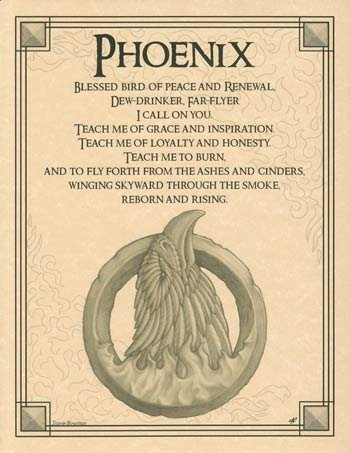 Fiery Phoenix Rise From the Ashes Parchment Poster