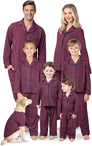 PajamaGram Matching Pajamas for Family - Button-Front PJs, Red, Pets, XS -