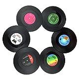 Txian 6PCS Retro Vinyl Cup Mat LP Record Style Coaster Non-slip Insulated Coffee Drink Mat
