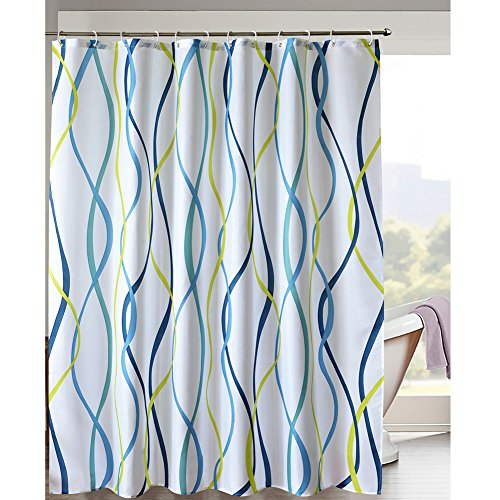 yellow and blue shower curtain - 3
