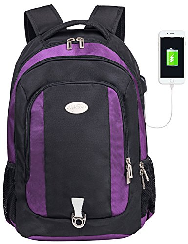 Mygreen Laptop Backpack Computer Backpack 15.6 Inch Daypack Water-Repellent Laptop Bag with USB Charging Port for Business/School/Travel/Women/Men-Purple