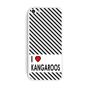 Graphics and More I Love Heart Kangaroos Protective Skin Sticker Case for Apple iPhone 5C - Set of 2 - Non-Retail Packaging - Opaque