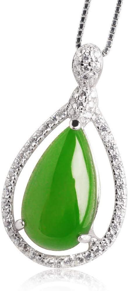 Z-GJM Collar de jade, verde jade, collar pendiente esmeralda, collar de cadena de jade verde natural de la lágrima colgante con caja de regalo, unisex