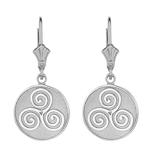 Triskele Silver Sterling (Sterling Silver Celtic Triple Spiral Triskele Leverback Earrings)