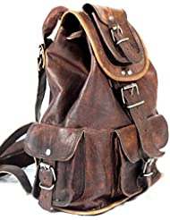 Phoenix Craft Large Genuine Leather Retro Rucksack Backpack 19 inches College Bagschool Picnic Bag Travel Christmas...