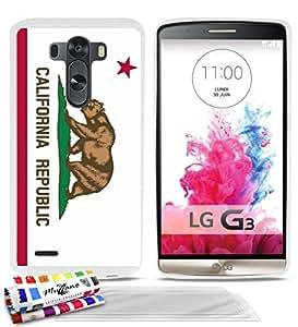 Carcasa Flexible Ultra-Slim LG G3 D855 de exclusivo motivo [Bandera California] [Blanca] de MUZZANO + 3 Pelliculas de Pantalla UltraClear + ESTILETE y PAÑO MUZZANO® REGALADOS - La Protección Antigolpes ULTIMA, ELEGANTE Y DURADERA para su LG G3 D855