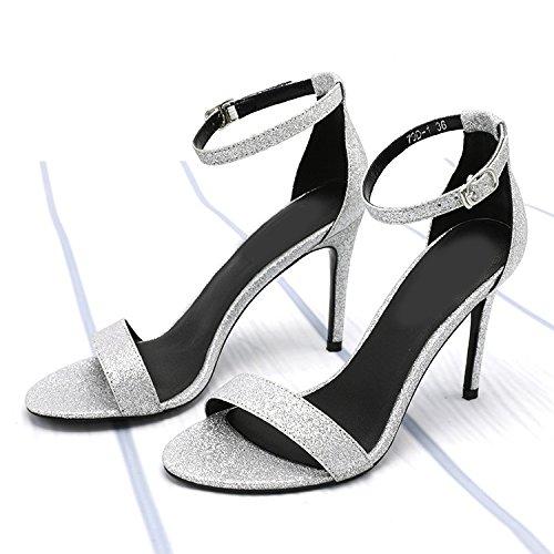 Belle Boucle Toe Bouton Mode Femmes XL Tête été à Sauvages YXLONG Ouvert Talons Hauts Nouvelles Chaussures à Sandales silver avec Un Une Chaussures Femmes Ronde wC5TIYx