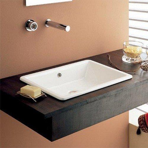Scarabeo 8032-No Hole Gaia Rectangular Ceramic Self Rimming/Vessel Sink, White ()