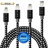 #5: Lightning Cable 4Pack 3FT 6FT 6FT 10FT Nylon Braided Certified iPhone Cable USB Cord Charging Charger for Apple iPhone X, 8,7,7 Plus,6,6s,6+,5,5c,5s,iPad,iPod Nano,iPod Touch (Black&White)