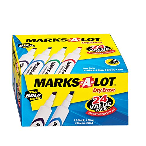 Marks-A-Lot Dry Erase Desk Style Marker, Assorted Colors, 24