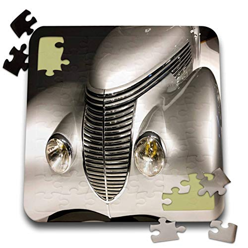 3dRose Lens Art by Florene - Art Deco - Image of Front of Silver Art Deco Style Automobile - 10x10 Inch Puzzle (pzl_313432_2)