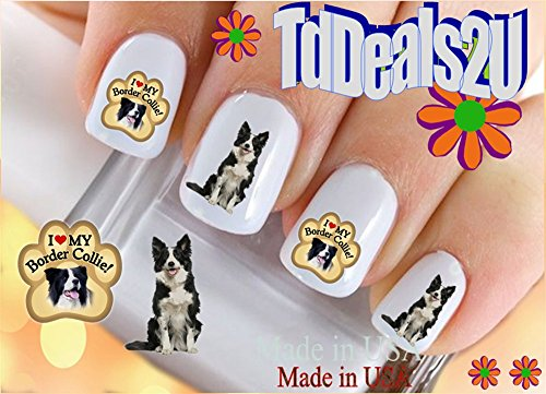 Nail Art Decals WaterSlide Nail Transfers Stickers Dog Breed - Border Collie Paw I Love my Border Collie Nail Decals - Salon Quality! DIY Nail Accessories
