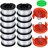 TOPEMAI AF-100 Spool Compatible with Black & Decker AF-100-3ZP 0.065' String Trimmer Line Replacement for GH900 GH600 String Trimmer (12 Spools + 3 Caps and Springs)