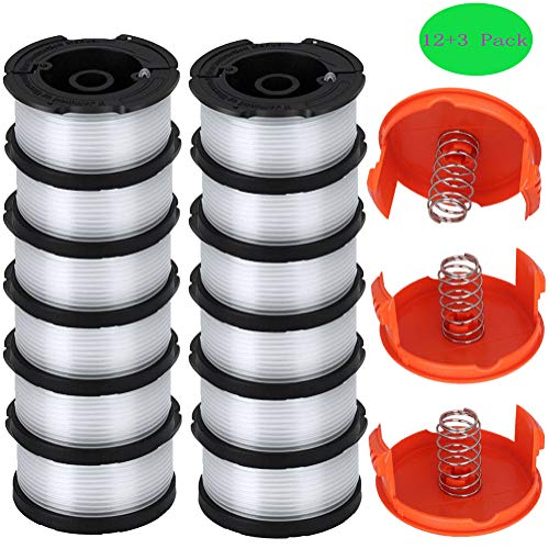 TOPEMAI AF-100 Spool Compatible with Black & Decker AF-100-3ZP 0.065 String Trimmer Line Replacement for GH900 GH600 String Trimmer (12 Spools + 3 Caps and Springs)